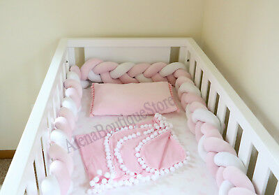 Braided Crib Bumpers,Crib Bumpers,Cot(Nursery bedding)(27 colors to choose )...