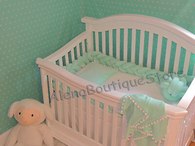 Baby Infant Cotton Plush Crib Braided bumper Bedding Cot Protector Pillow
