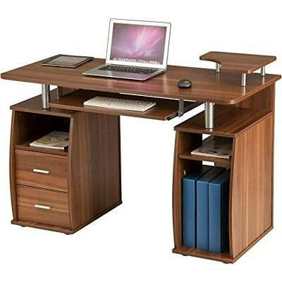 Computer Desk Table PC Storage Shelves Cupboard Drawers Home Office Retractable