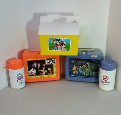 Vintage 1980's & 90s 3 Lunchbox & Thermos Lot Ghostbusters Mickey Mouse New Kids