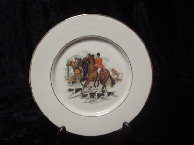 Fox Hunting Plate . Horses . Riders . Dogs . Gold Trimmed . Hatboro