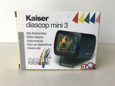 Kaiser Diascop Mini 3 with 3x Magnigication Lens Fold Out Stand For 2 x 2 Slide