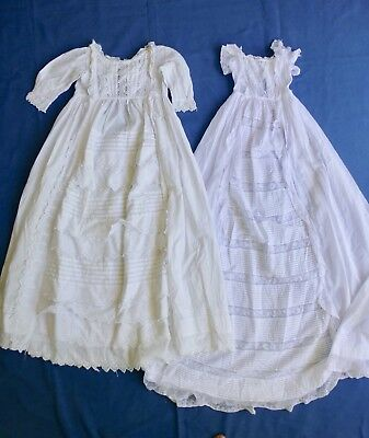 2 antq Victorian baby christening dress robe gown lace embroidery -faults