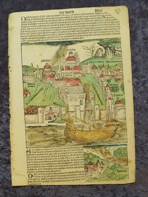 Constantinople Istanbul Turkey Oldcoloured Woodcuts Schedel Leaf 1493 #c062
