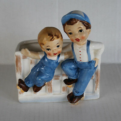Vintage Relpo A-1754 Napkin Holder / Planter - Two Boys by Fence, Rollerskates