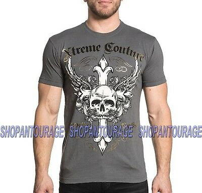 Xtreme Couture Annuit X1724 Men`s Short Sleeve Charcoal T-shirt By Affliction
