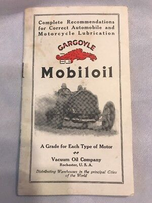 Antique Rare Vintage Mobil oil Gargoyle Lubrication Guide Auto Motorcycle