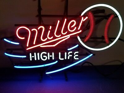 (L@@K) Miller high life beer baseball neon light up sign bar game Room man cave