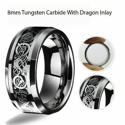 8mm Men Authentic Tungsten Carbide Celtic Knot Dragon Black Wedding Band Ring