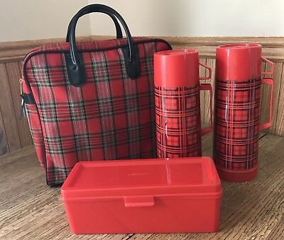 Vtg Alladin Red Plaid 4 Pc Picnic Set 2 Thermos Lunch Box Case Camping Glamping