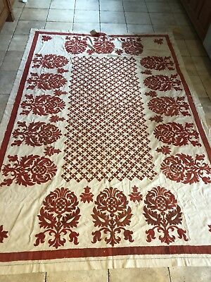Antique Hand Made Table Cloth Tablecloth Or  Coverlet Nice!