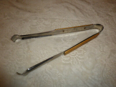 """Vintage~ANDROCK~Stainless Steel Tongs~Wood Handles~BBQ~12""""~Pre-Owned"""