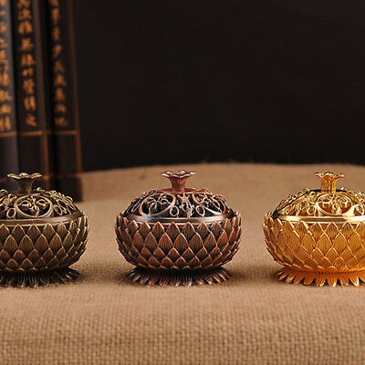 Ee_ Lx_ Lc_ Lotus Shape Zinc-Copper Alloy Incense Burner Sandalwood Censer Home