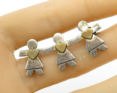 Bp2575 Vintage Two Tone Smiling Snowman Brooch Pin Good 925 Sterling Silver
