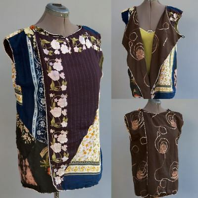 India Artisan Lagen Look Roughly Hand Sewn Reversible Sleeveless Vest Jacket ML