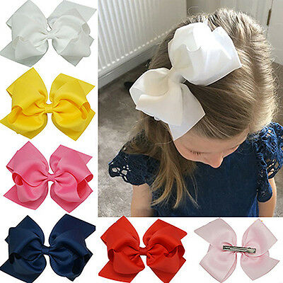 EE_ Girl's Large Double Layers Hairbow Hair Bow Grosgrain Ribbon Clip Hairpin Pr