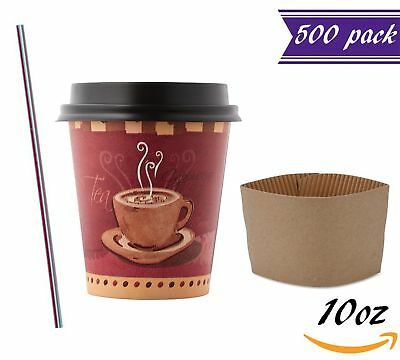 (500 Sets) 10 oz Disposable Coffee Cups with Dome Lids and Sleeves, BONUS