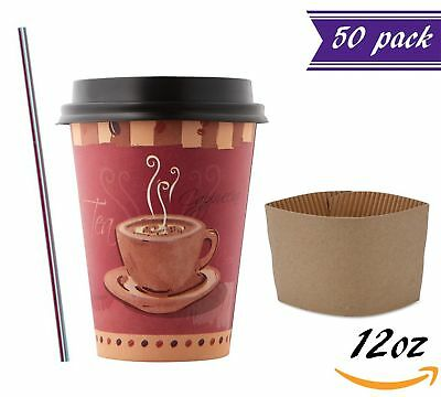 (50 Sets) 12oz Disposable Coffee Cups with Dome Lids and Sleeves BONUS Stirrers