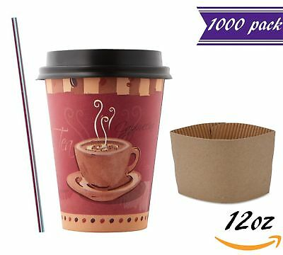 (1000 Sets) 12 oz Disposable Coffee Cups with Dome Lids and Sleeves, BONUS