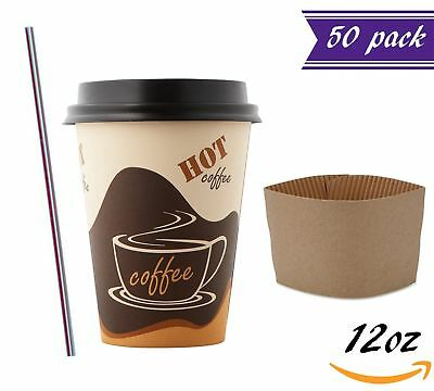 (50 Sets) 12 oz Disposable Coffee Cups with Dome Lids and Sleeves BONUS Stirrers