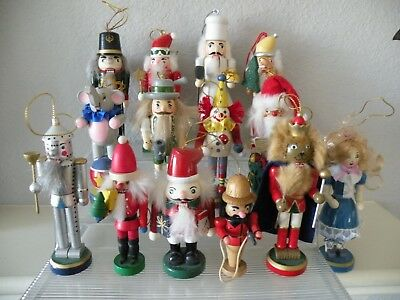 """Quality Wooden Decorative Nutcracker Collection Lot of (14) Size 4""""-6"""""""