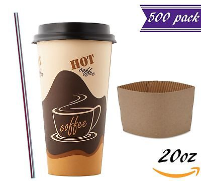 (500 Sets) 20oz Disposable Coffee Cups with Dome Lids and Sleeves BONUS Stirrers