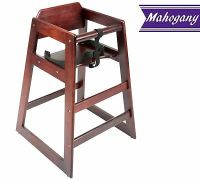 Baby High Chair, Stacking Restaurant Wood High Chair with Mahogany Wood Finish