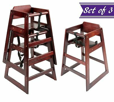 (Set of 3) Baby High Chair, Stacking High Chair with Mahogany Wood Finish