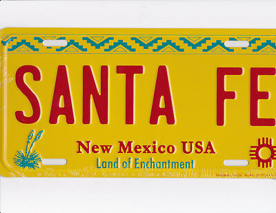 brand new metal license plate SANTA FE New Mexico USA land of enchantment