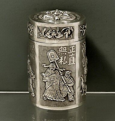"Chinese Export Silver Tea Caddy     SIGNED      ""WARRIOR, CALIGRAPHY & SCHOLARS"""