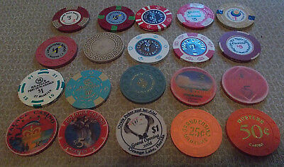 LOT OF 20 DIFFERENT MIXED DENOMINATION CASINO CHIPS- VARIOUS LOCATIONS (#1d)