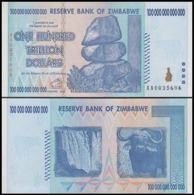 "100 Trillion Dollar Zimbabwe Banknote - AA Uncirculated ""Free OZ Shipping"""