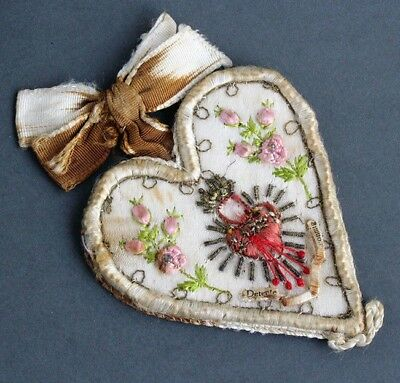 Antique Embroidered Scapular, RARE Sacred Heart Scapular with Pink Flowers Metal
