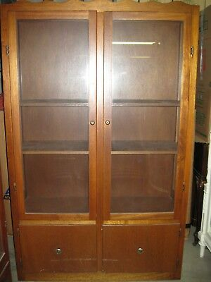 Two Door Wood and Glass Cabinet