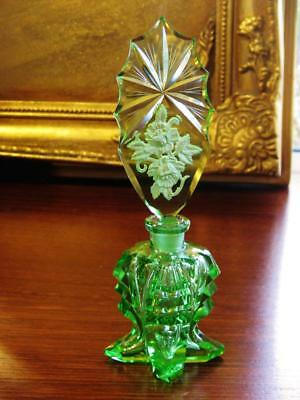 Stunning antique Czech glass perfume bottle ornate stopper, uranium glass glow.