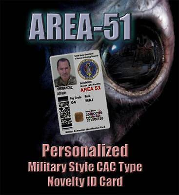 "VERY RARE Personalized ""AREA-51"" Military STYLE ID C.A.C. (Common Access Card)"