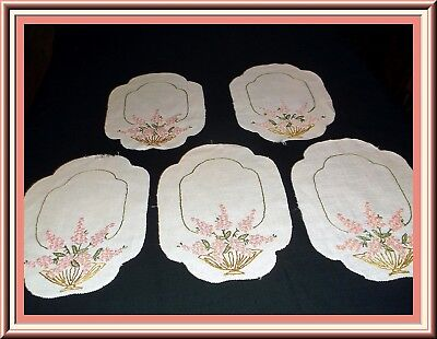 5 Lovely Vintage Hand Embroidered Linen Doilies With Flower Basket Design