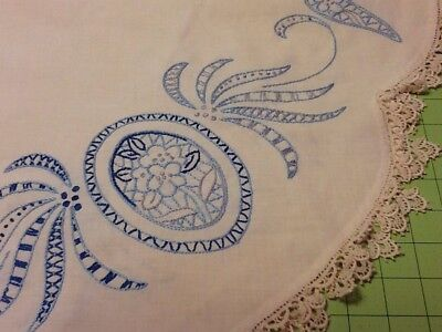 "Vintage HAND EMBROIDERED 36"" BLUE TABLECLOTH TABLE CLOTH DELFT WILLOW"