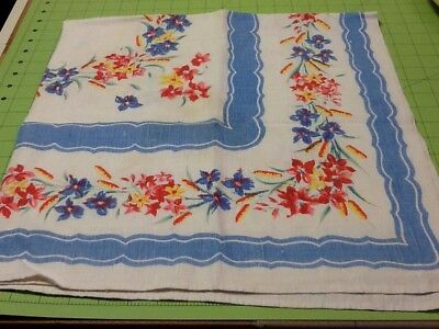 "Vintage TABLECLOTH PRINTED FLORAL BLUE PINK RED TABLE CLOTH 35"" X 35"""