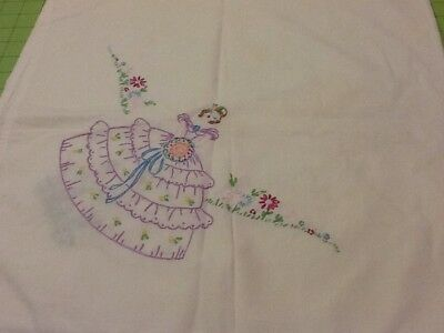 "Vintage HAND EMBROIDERED BELLE CRINOLINE TABLECLOTH TABLE CLOTH 36"" X 36"""