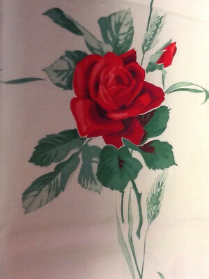 "Vintage TABLECLOTH PRINTED RED ROSE TABLE CLOTH 32"" X 35"""