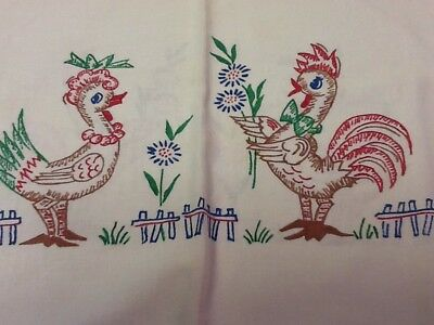 "Vintage TABLECLOTH LIQUID EMBROIDERY CHICKEN ROOSTER TABLE CLOTH 32"" X 34"""