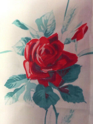 Vintage TABLECLOTH PRINTED RED ROSE TABLE CLOTH