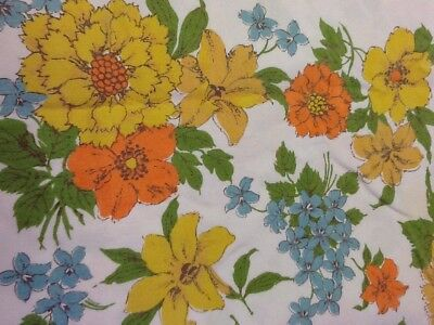 "Vintage TABLECLOTH PRINTED FLORAL GOLD TABLE CLOTH 44"" X 49"""