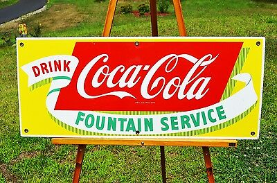 Vintage Coca Cola Fountain Service Porcelain Drink Sign Collectable Scarce Minty