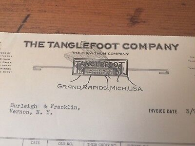 THE TANGLEFOOT COMPANY INSECTICIDES FLY PAPER 1940 billhead Grand Rapids Mich.