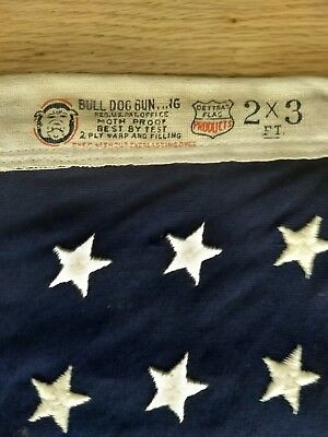 Vintage Bulldog Cotton Flag  2' x 3' 48 Star American Flag Sewn Stars, Stripes