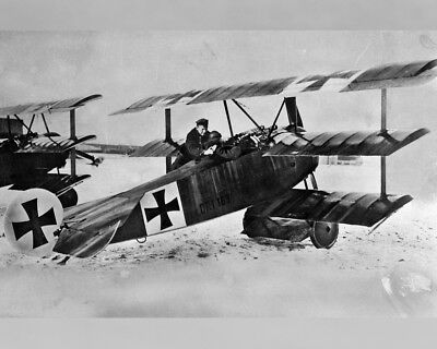 New 8x10 Photo: Red Baron Manfred von Richthofen with his Fokker Dr.I Triplane