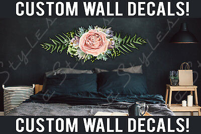 Floral Vinyl Bed Room Living Wall Boho French Flowers Decals Stickers Kids Decor