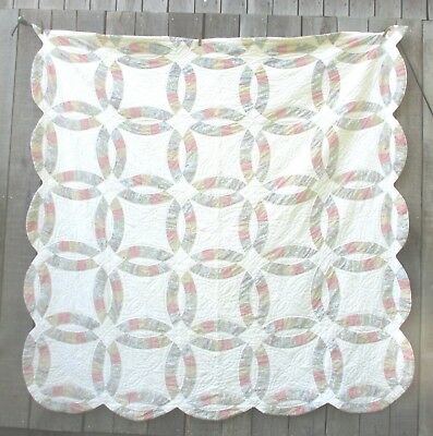 Antique 1940's WEDDING RING QUILT Hand  Stitched Quilting Queen Cotton